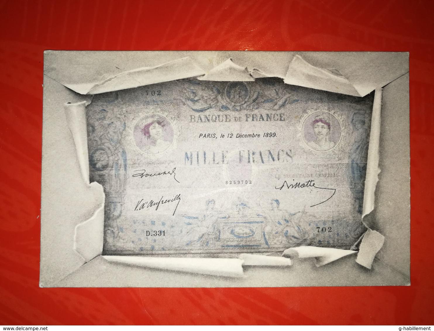 CPA Banque De France - Billet De Mille Francs - 12 Décembre 1899 - Monnaies (représentations)