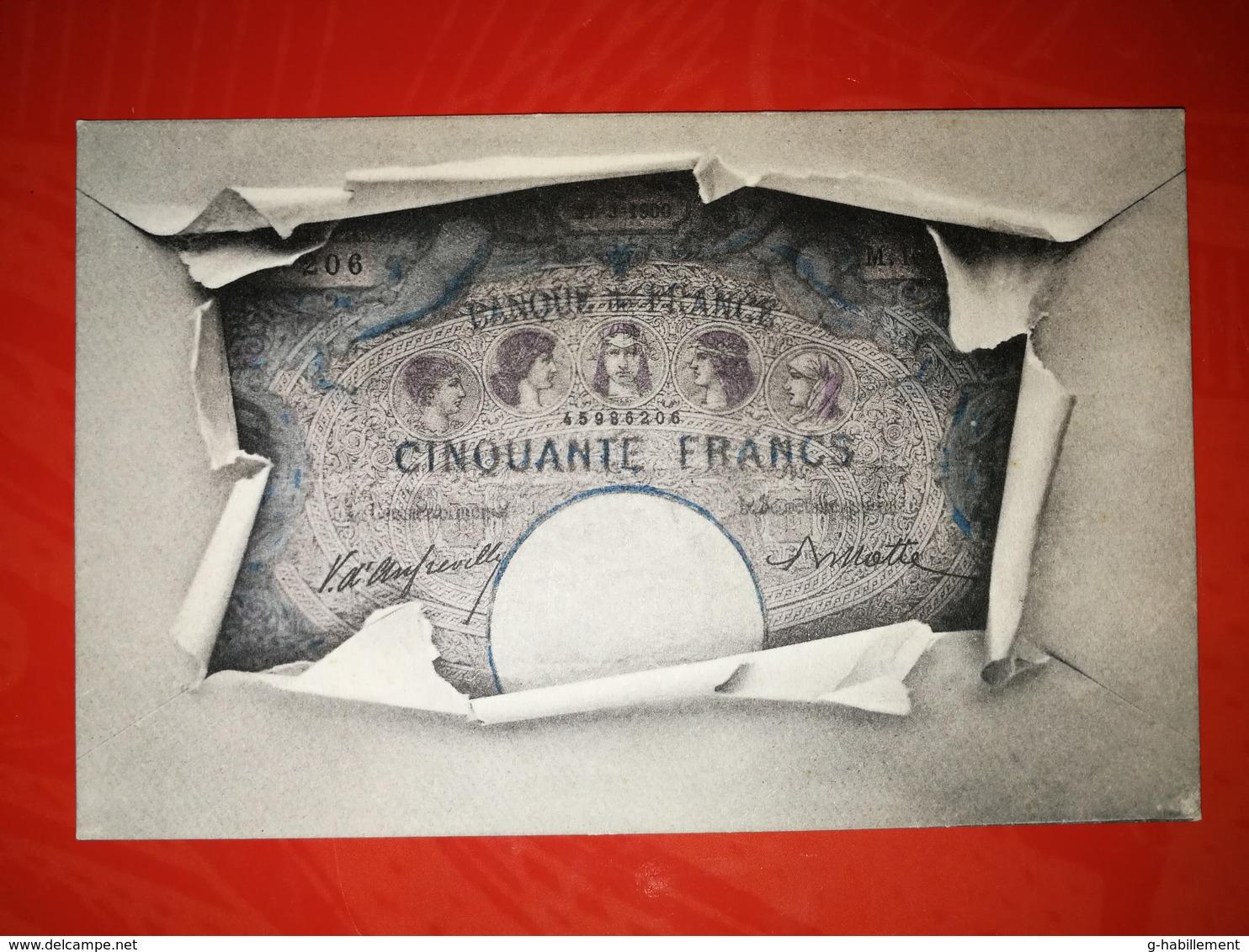 CPA Banque De France - Billet De Cinquante Francs - 27 Mars 1900 - Monnaies (représentations)