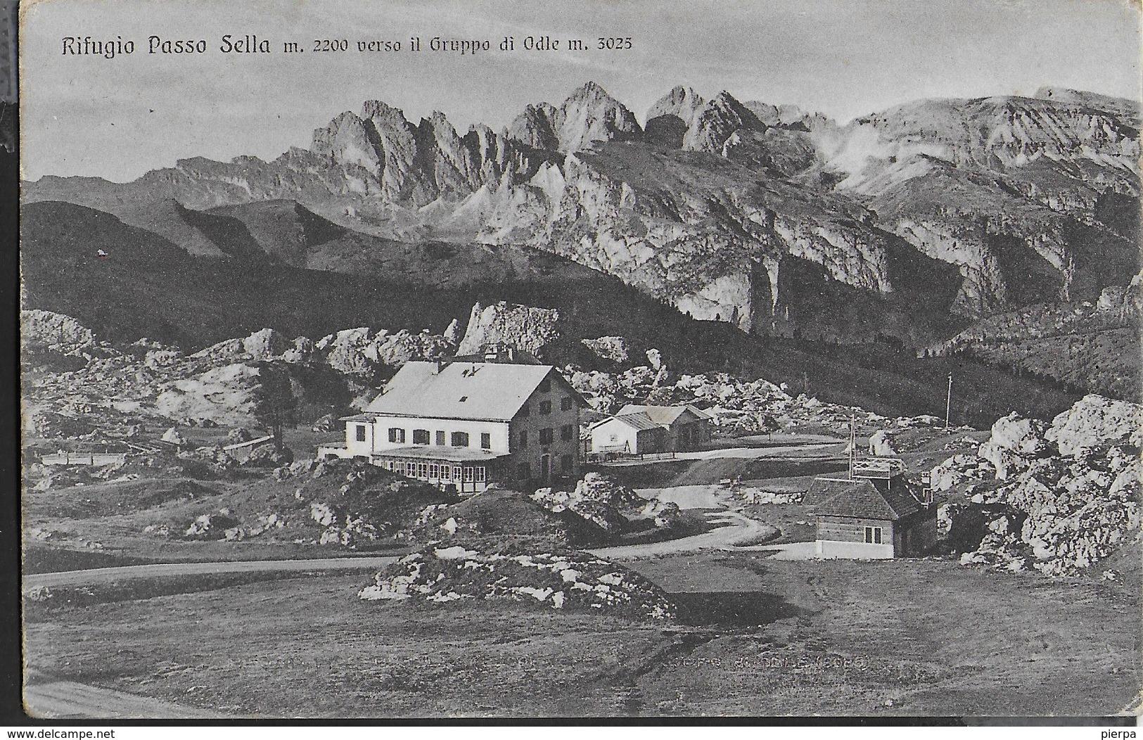 DOLOMITI - RIFUGIO PASSO SELLA - FORMATO PICCOLO - FOTO GHEDINA - VIAGGIATA 1935 - Alpinisme