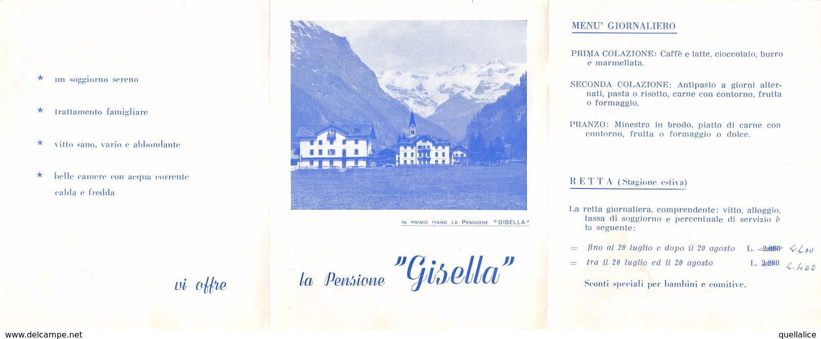"""0959 """"VALLE D'AOSTA - GRESSONEY ST. JEAN M. 1385 - LA PENSIONE GISELLA"""" DEPLIANT TURISTICO - Dépliants Touristiques"""