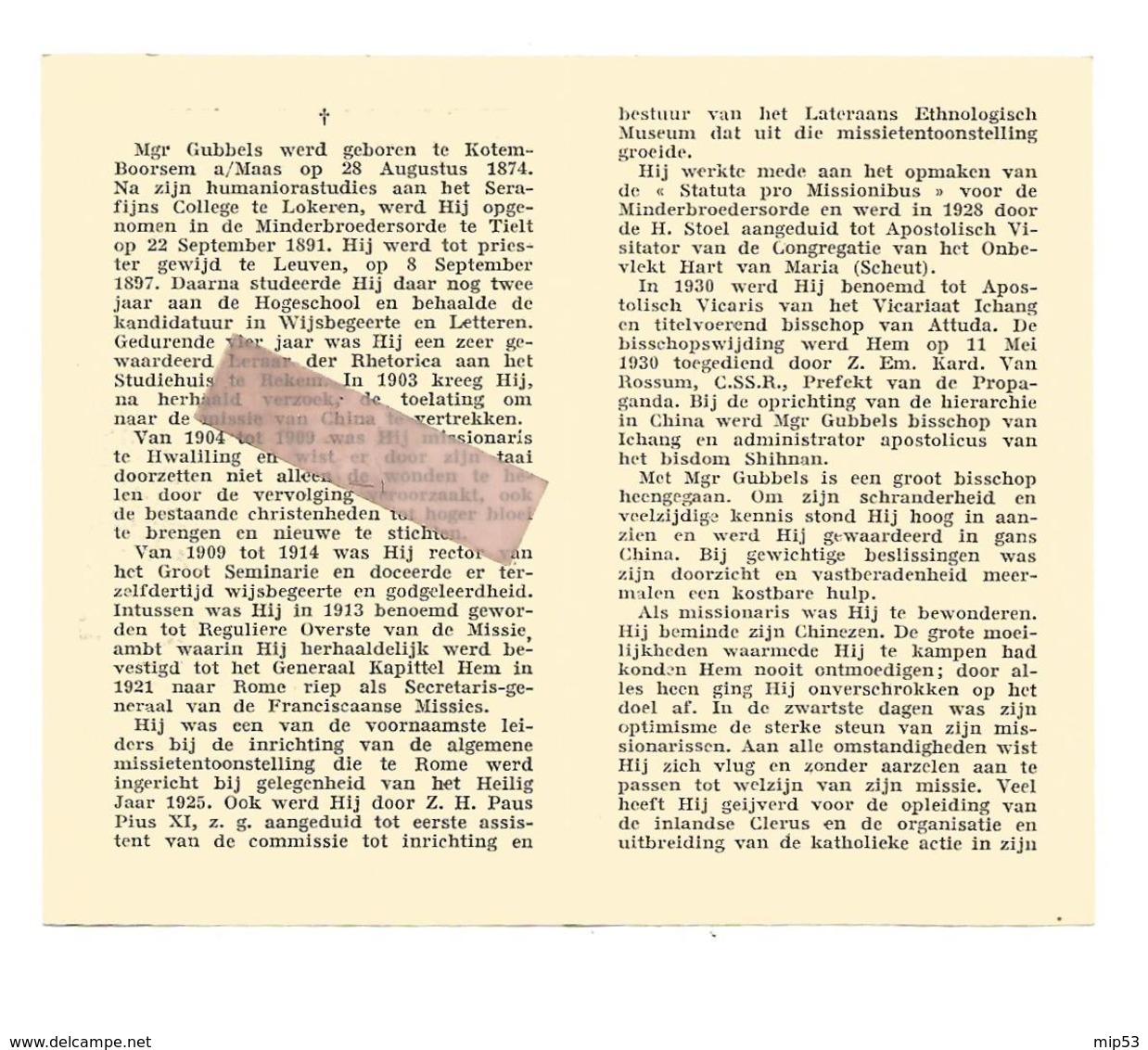 P 901. MGR. GUBBELS - °KOTEM-BOORSEM A/MAAS  1874 -Bisschop China / Sino-Japanse Oorlog ('37/'45) Concentratiekamp - Imágenes Religiosas
