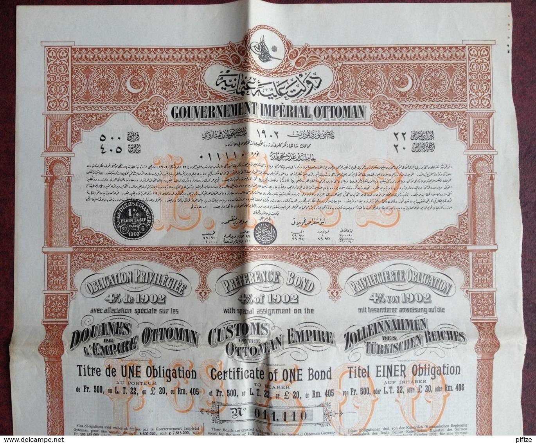 Gouvernement Impérial Ottoman . Obligation Privilégiée De 500 F , 4% De 1902 . Turquie . Douanes . Constantinople 1903 . - Actions & Titres