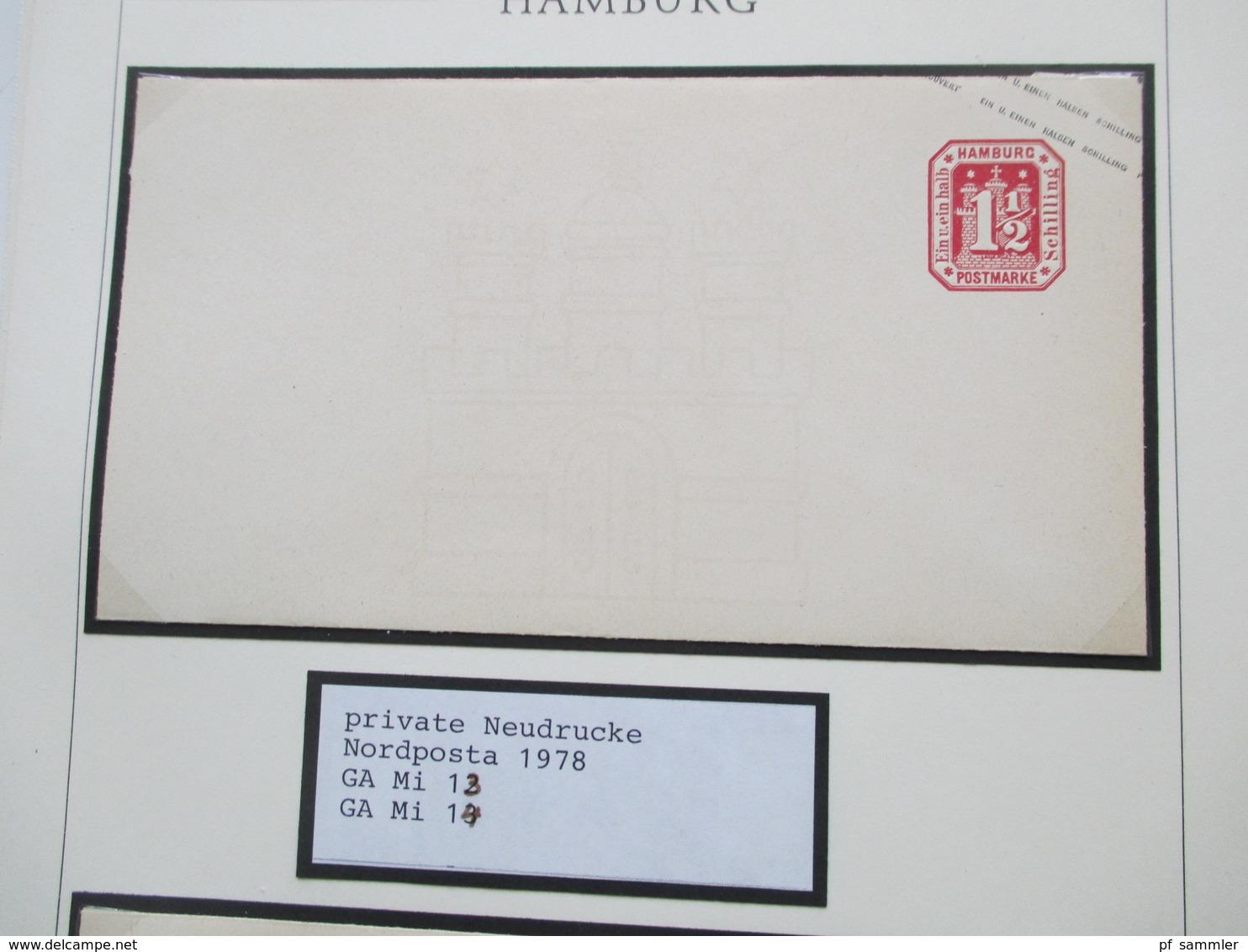 Altdeutschland Konvolut Hamburg Private Neudrucke 1978 Zur Nordposta 2 Blocks Und 7 Ganzsachen Umschläge - Hamburg