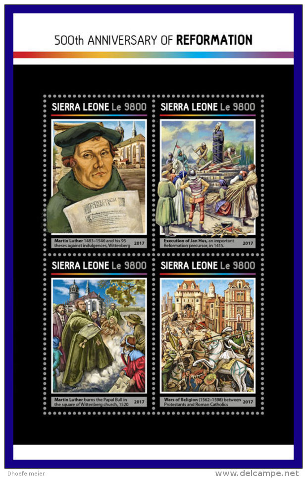 SIERRA LEONE 2017 ** 500 Years Reformation Martin Luther M/S - OFFICIAL ISSUE - DH1716 - Theologians