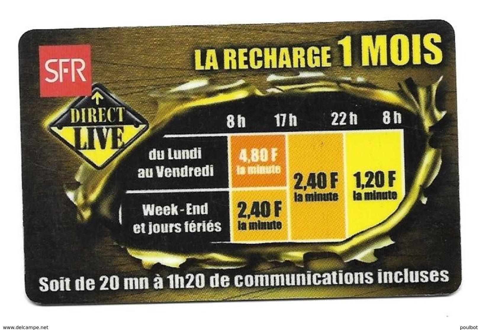 Carte Recharge SFR 1 Mois  2éme Choix Voir 3 ème - France