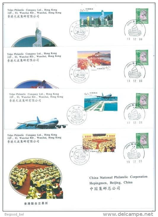 COMMEMORATIVE COVERS PFN HK-6 (4-1 TO 4-4) ECONOMIC CONSTRUCTION HK  - Mi 2778-2781 + HK 772  Yv 3452-3455   - Lot 19230 - FDC