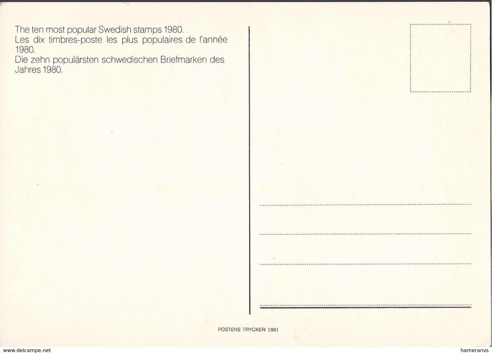 De Tio Popularaste I 1980 Ars Omrostningstavling -The Ten Most Popular Swedish Stamps 1980 -  - H2389 - Francobolli (rappresentazioni)