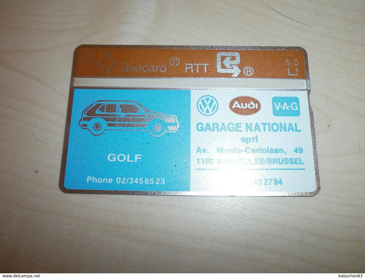 Télécarte Ancienne RTT   Publicité GARAGE NATIONAL SPRL  Golf Audi - Voitures