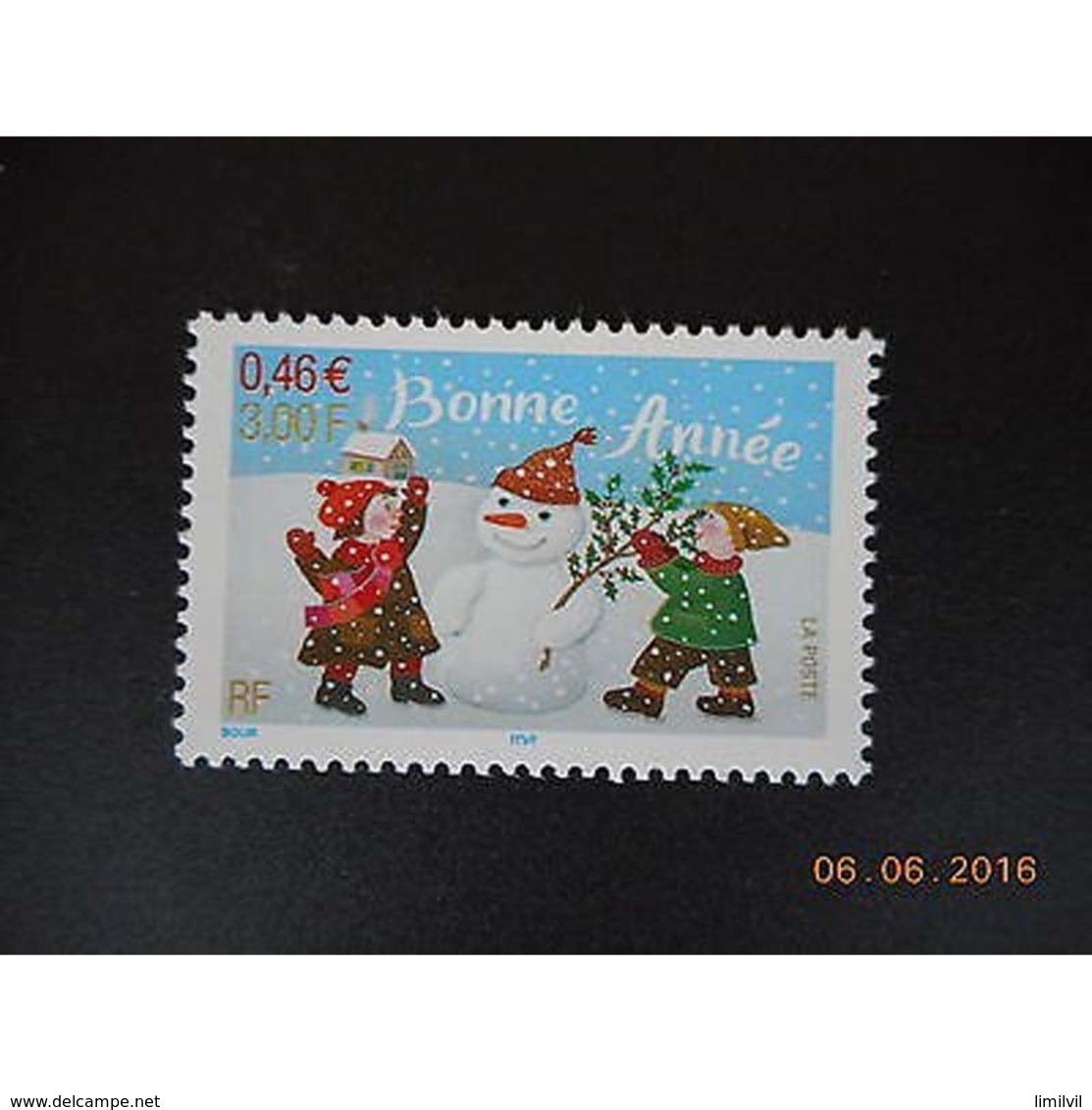Timbre N° 3437 Neuf ** - Bonne Année. Enfants Et Bonhomme De Neige. - France