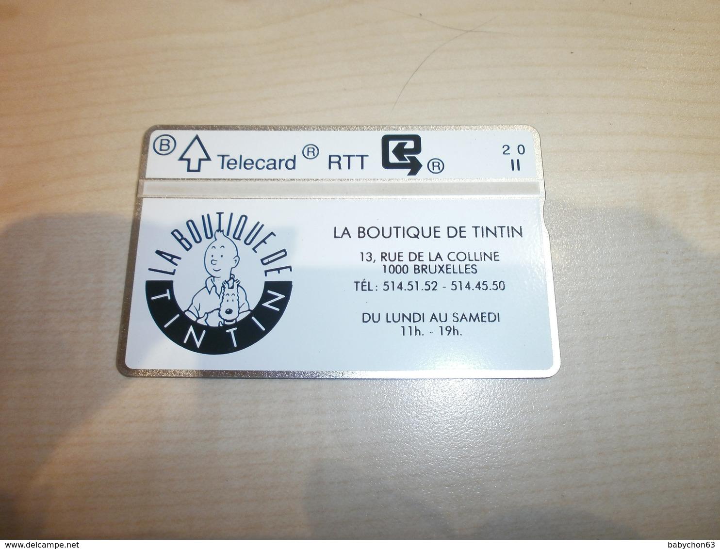 Télécarte Ancienne RTT   Publicité  La Boutique De TINTIN     1000 BRUXELLES - BD