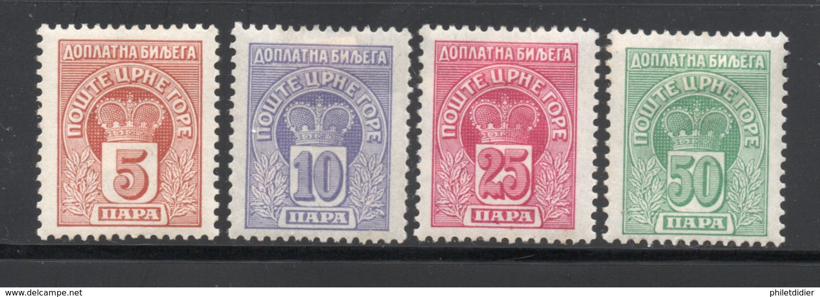 Royaume MONTENEGRO Timbres Taxes N° 20 à 23 - Montenegro