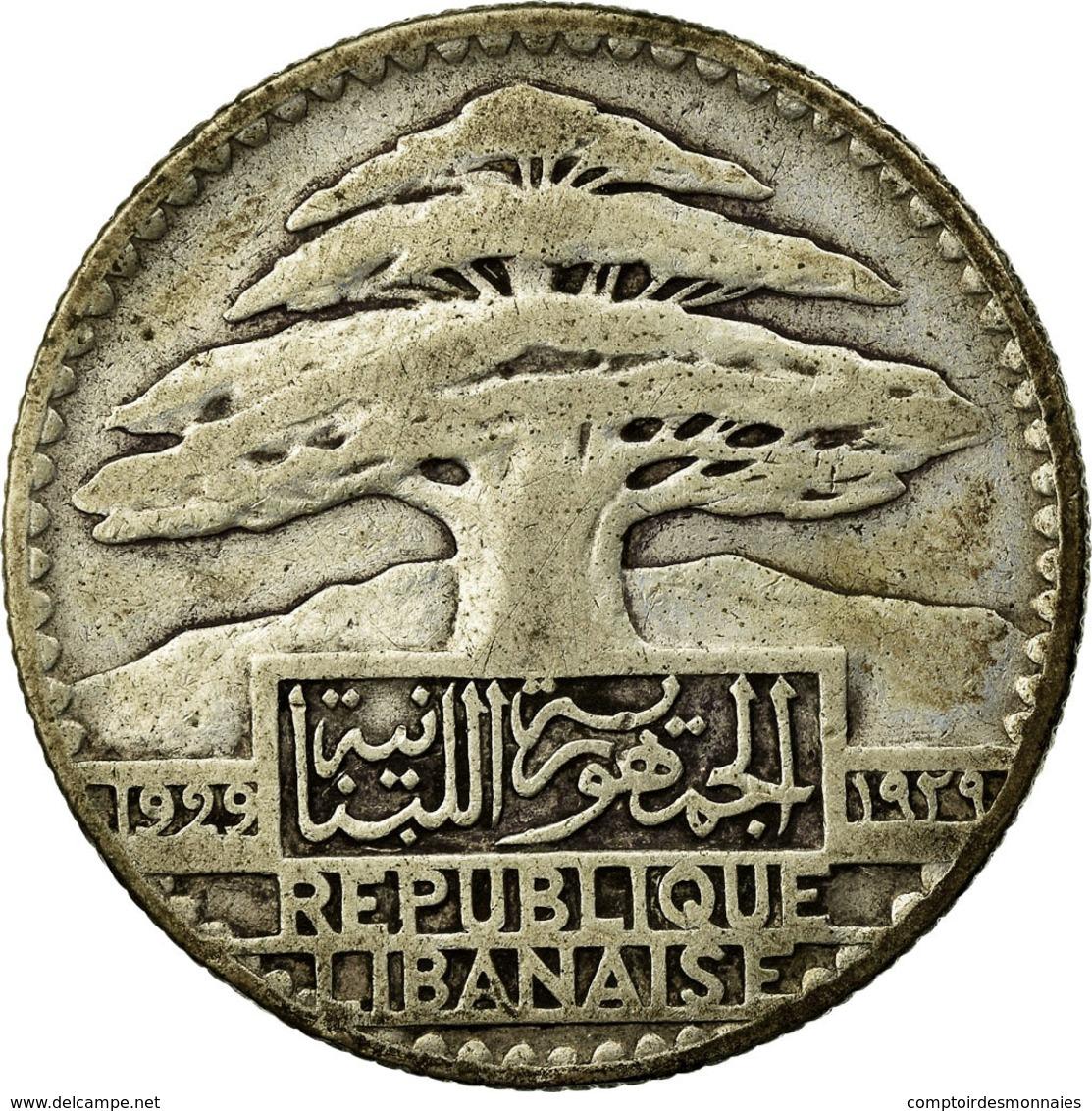 Monnaie, Lebanon, 50 Piastres, 1929, Paris, TB+, Argent, KM:8, Lecompte:41 - Liban