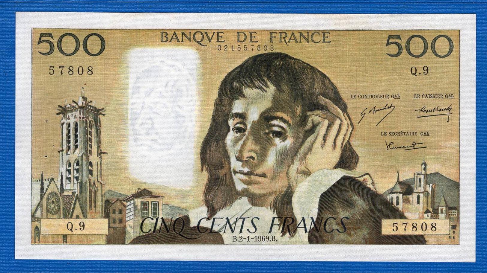 500 Fr  Du 2/1/1969   Q9 - 1962-1997 ''Francs''