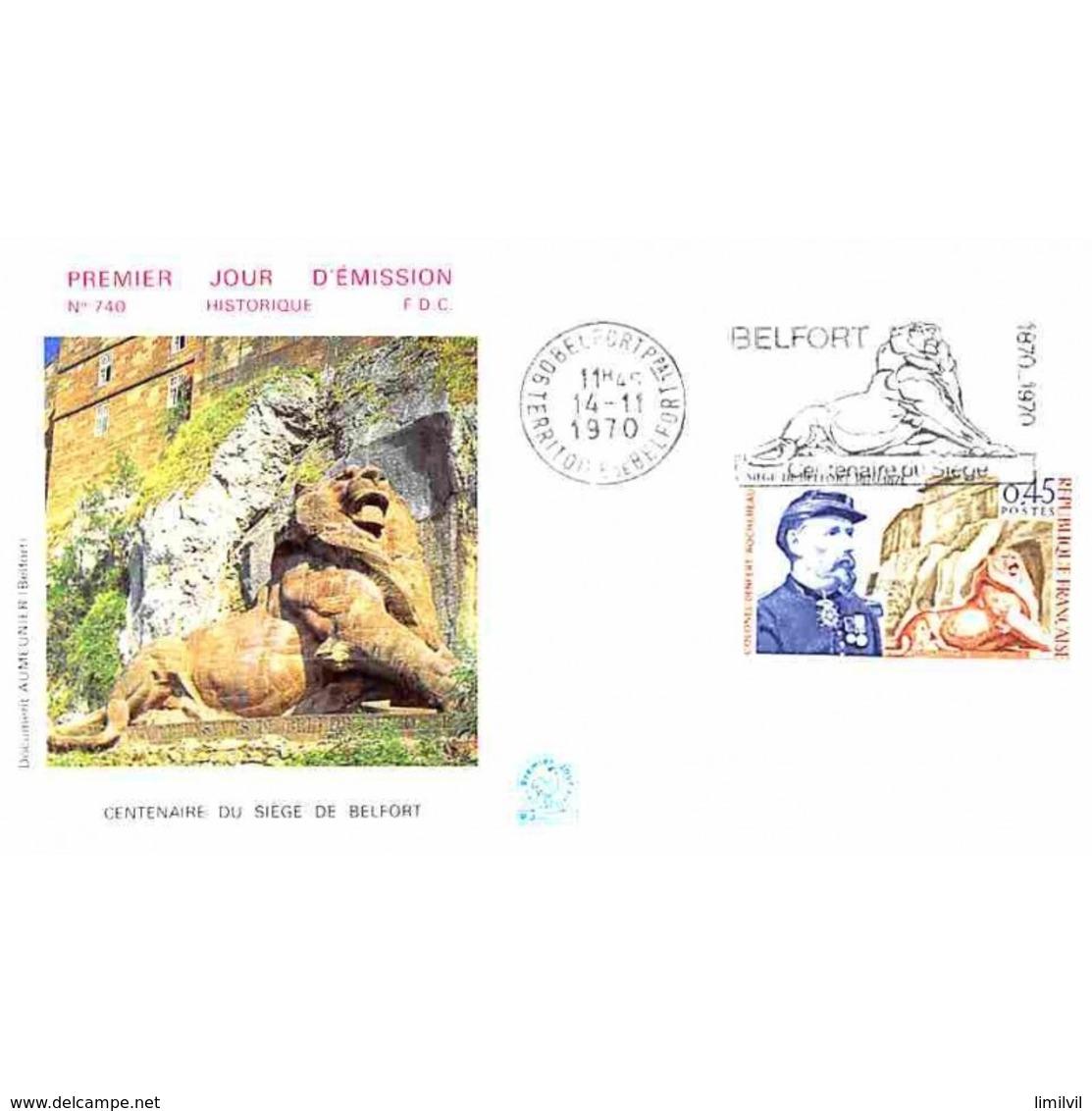 FDC - Centenaire Du Siège De Belfort En 1870 - 14/11/1970 Belfort - 1970-1979