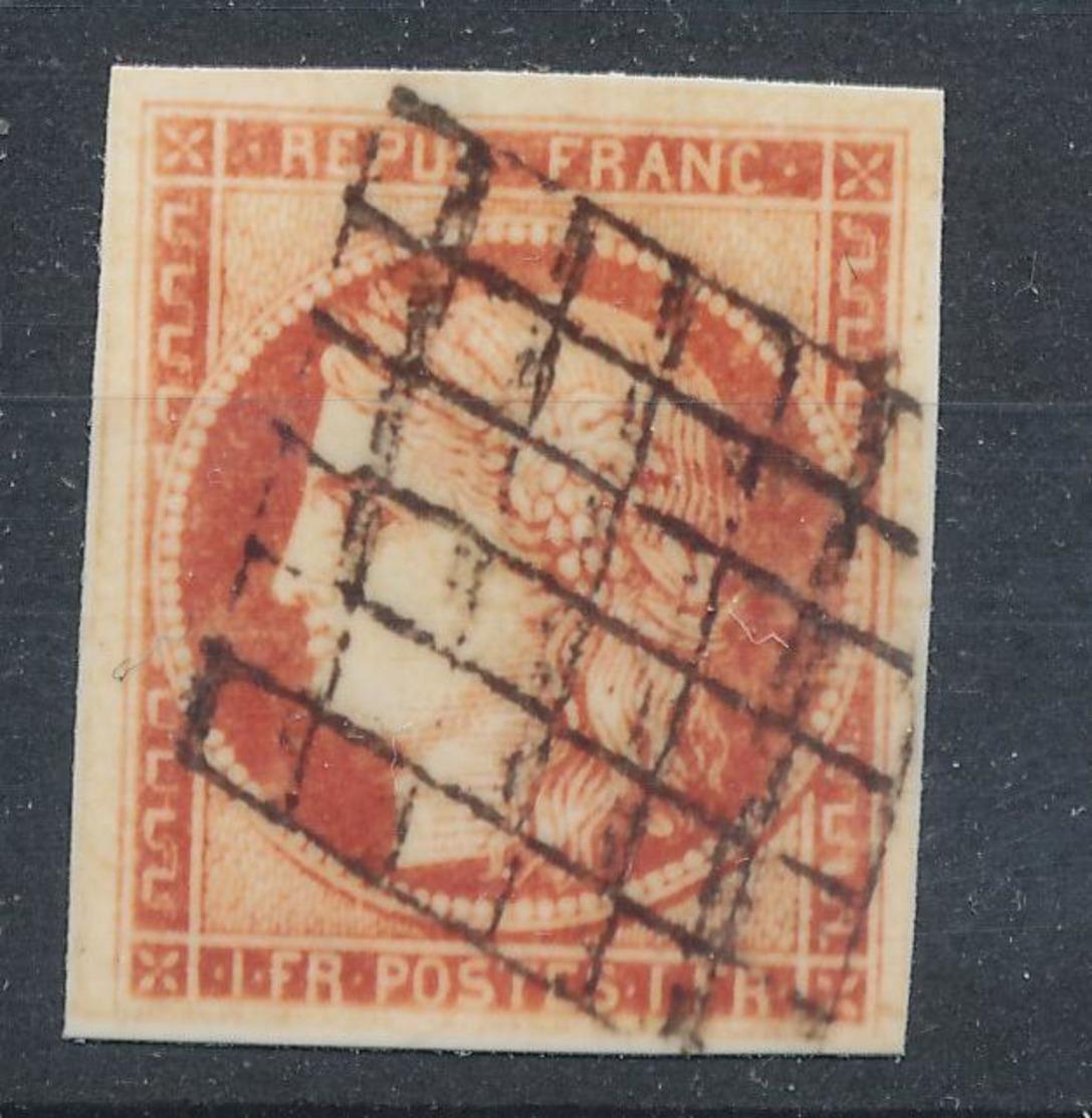 N°7 VERMILLON GRILLE 1849 - 1849-1850 Cérès