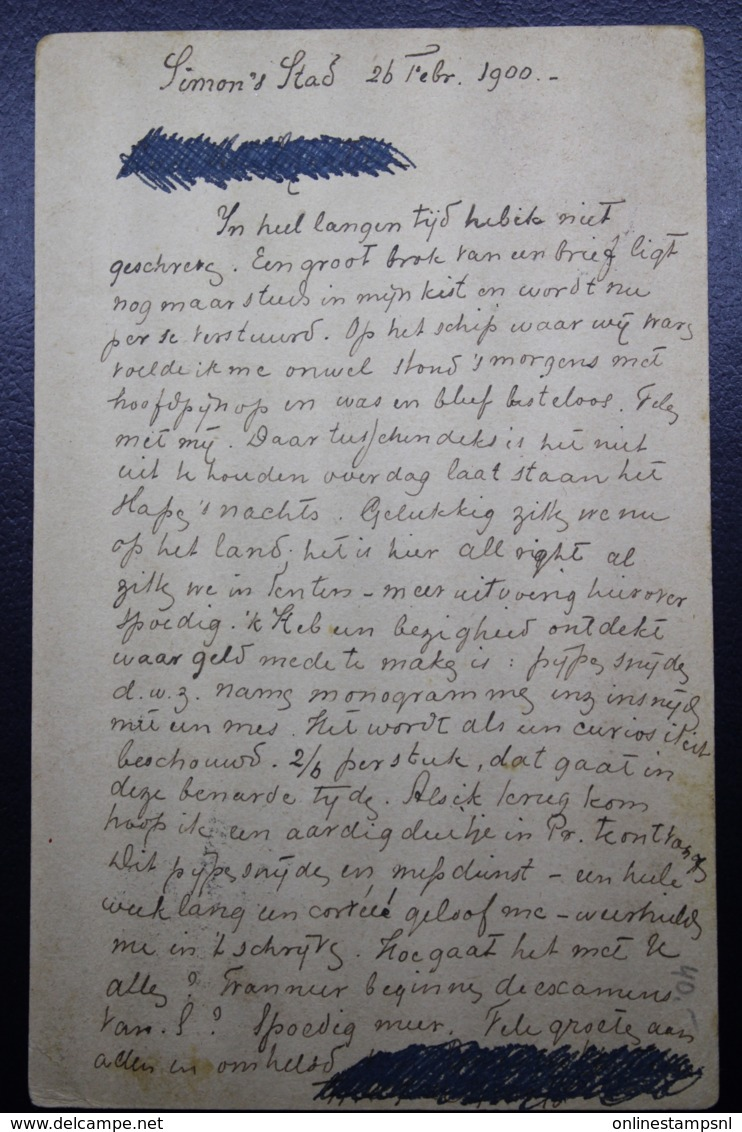 BOER WAR PERIOD  Postcard  Prisoners Of War SIMONSTOWN -> ARNHEM HOLLAND 27-2-1900 - Capo Di Buona Speranza (1853-1904)