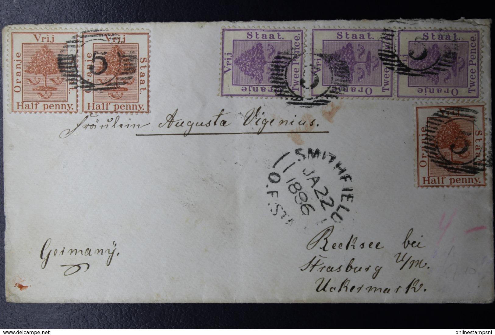 ORANGE FREE STATE COVER BETHLEHEM -> FRANKFURT GERMANY 13-8-1899 STRIP OF 3  SG 68 - Stato Libero Dell'Orange (1868-1909)