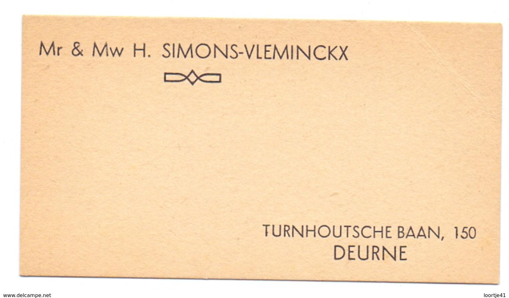 Visitekaartje - Carte Visite - Mr & Mme H. Simons - Vleminckx - Deurne - Cartes De Visite