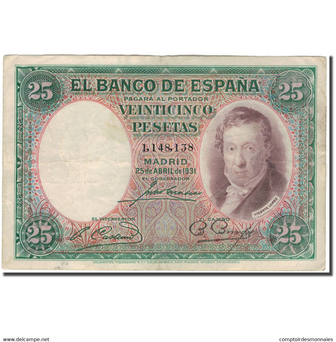 Billet, Espagne, 25 Pesetas, 1931, 1931-04-25, KM:81, TB - [ 1] …-1931 : Eerste Biljeten (Banco De España)