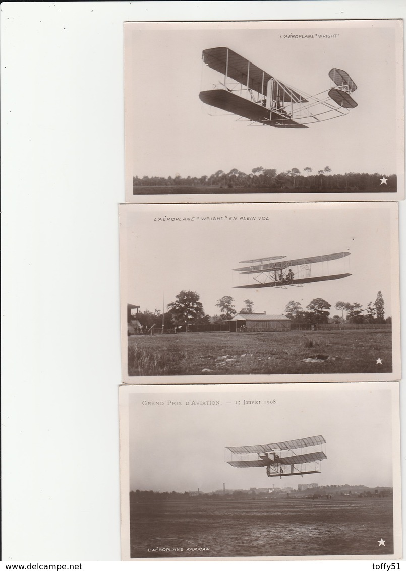 "3 CPA GLACÉES:AVION AÉROPLANE ""WRIGHT"",AÉROPLANE WRIGHT EN PLEIN VOL,AÉROPLANE ""FARMAN"" GRAND PRIX D'AVIATION 1908 - Avions"