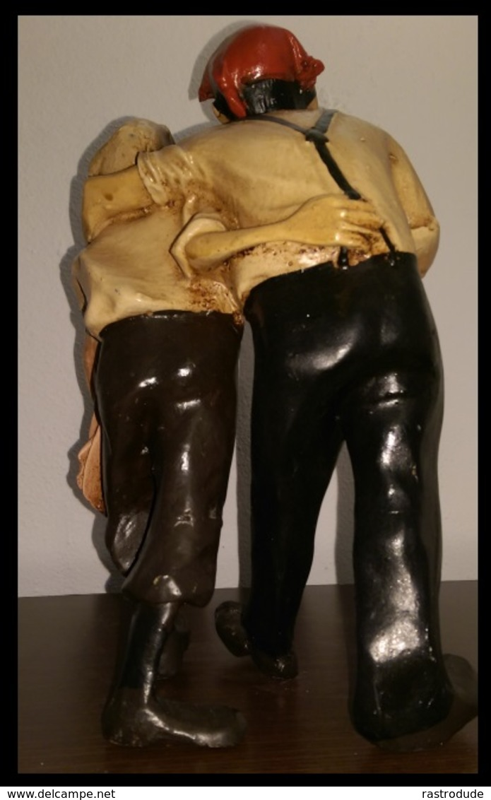 Resin Figurine Tintin Et Capitaine Haddock 29 Cm Hauteur - Annees 70 Scène Du Désert De Le Crabe Aux Pinces D'or - Rare - Tintin