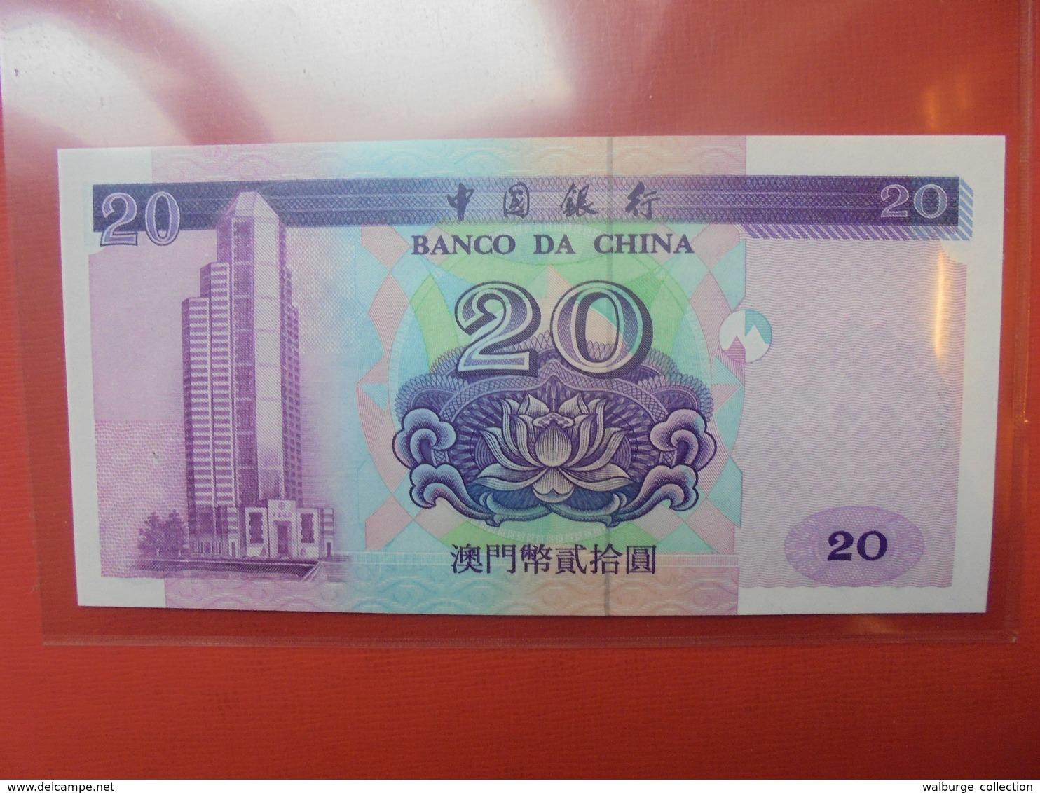 MACAO (BANCO DA CHINA) 20 PATACAS 1999 PEU CIRCULER/NEUF - Macao
