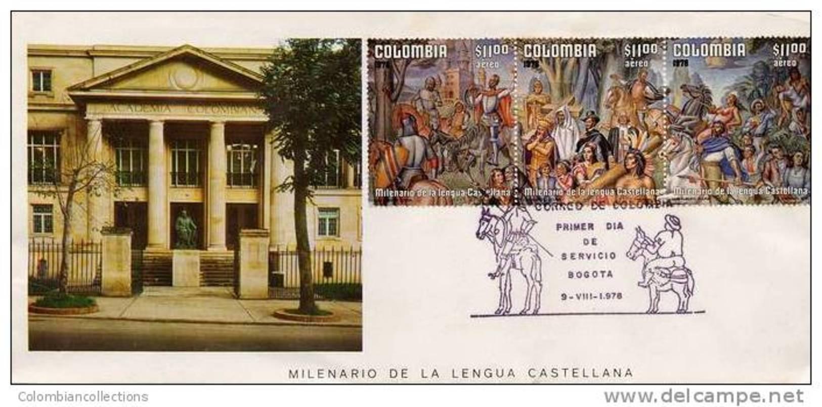 Lote 1398-0F, Colombia, 1978, SPD-FDC, Milenario De La Lengua Castellana, El Quijote Y Sancho, El Cid, Indian - Colombie
