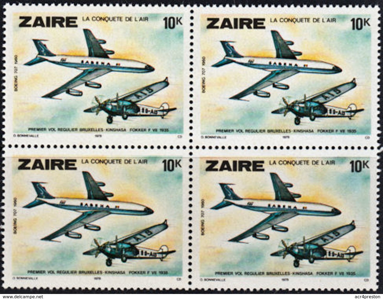 A0495 ZAIRE 1978, SG 932 History Of Aviation, Planes,  MNH Block Of 4 - Zaïre