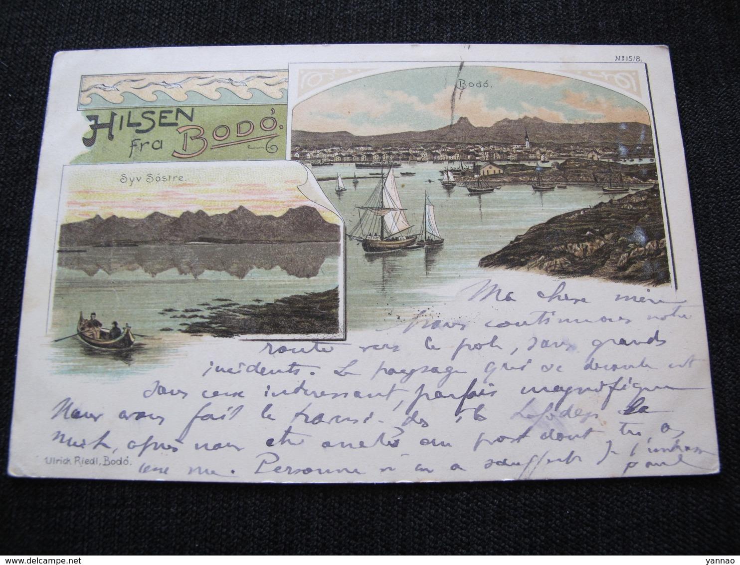 Ancienne Carte Postale Cpa Rare Hilsen Fra Bodo Circulée Vers Carolles 1901 - Norvège