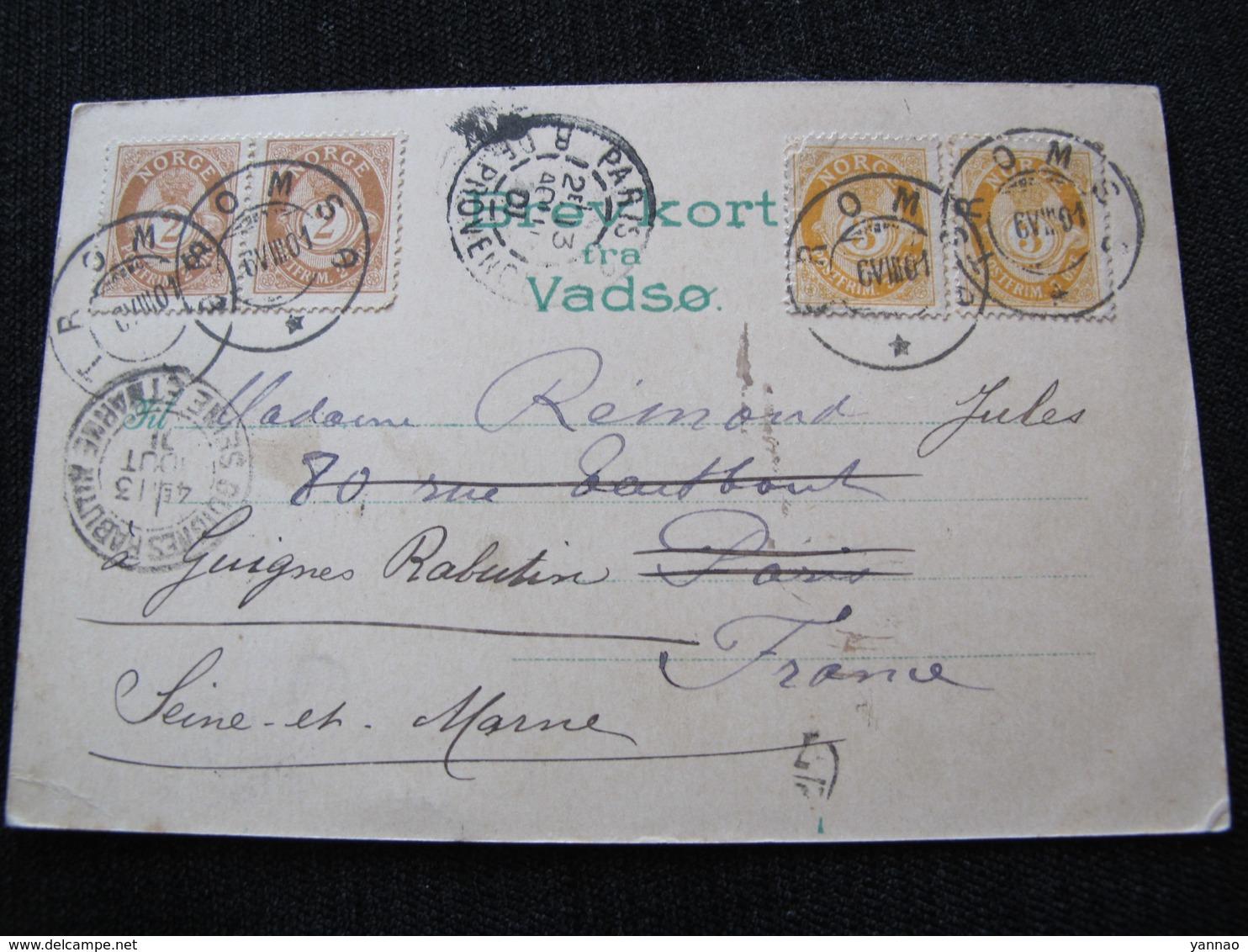 Ancienne Carte Postale Cpa Rare Hilsen Fra Vadso Circulée Vers Paris Et Guignes Rabutin 1901 Précurseur - Norvège