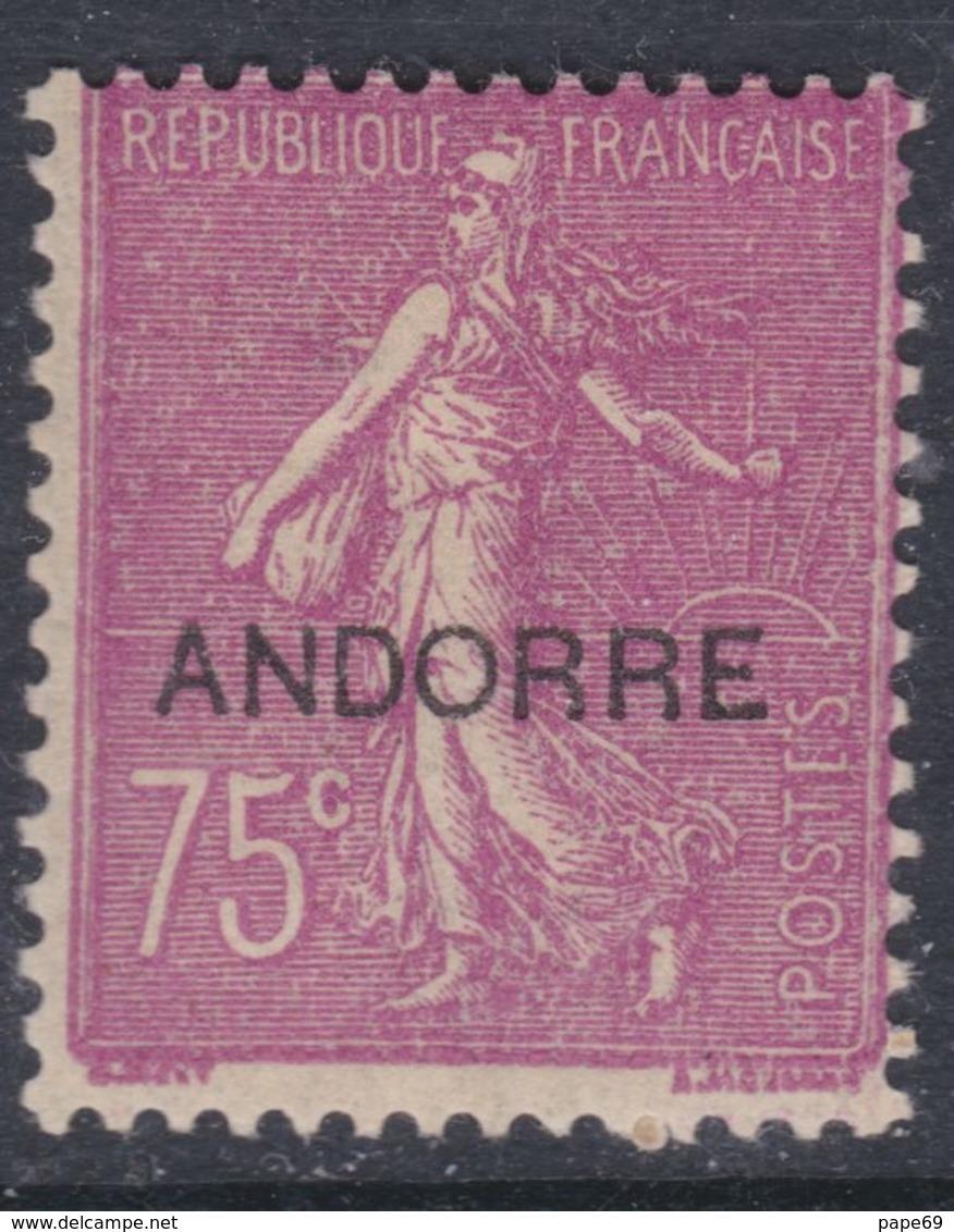 """Andorre N° 17 X Timbres De France Surchargés """"Andorre"""", Partie De Série : 75 C. Lilas-rose Trace Charnière Sinon  TB - Andorre Français"""
