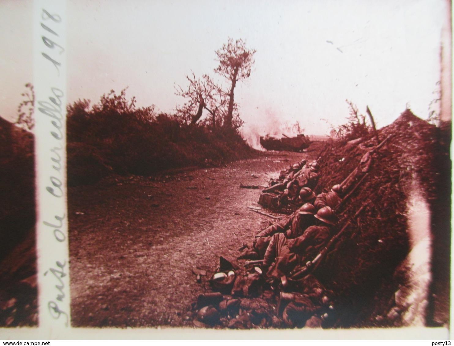 Plaque De Verre Stéréoscopique - Guerre 1914-18 - Prise De Courcelles - 1918 - Poilus - TBE - Glass Slides