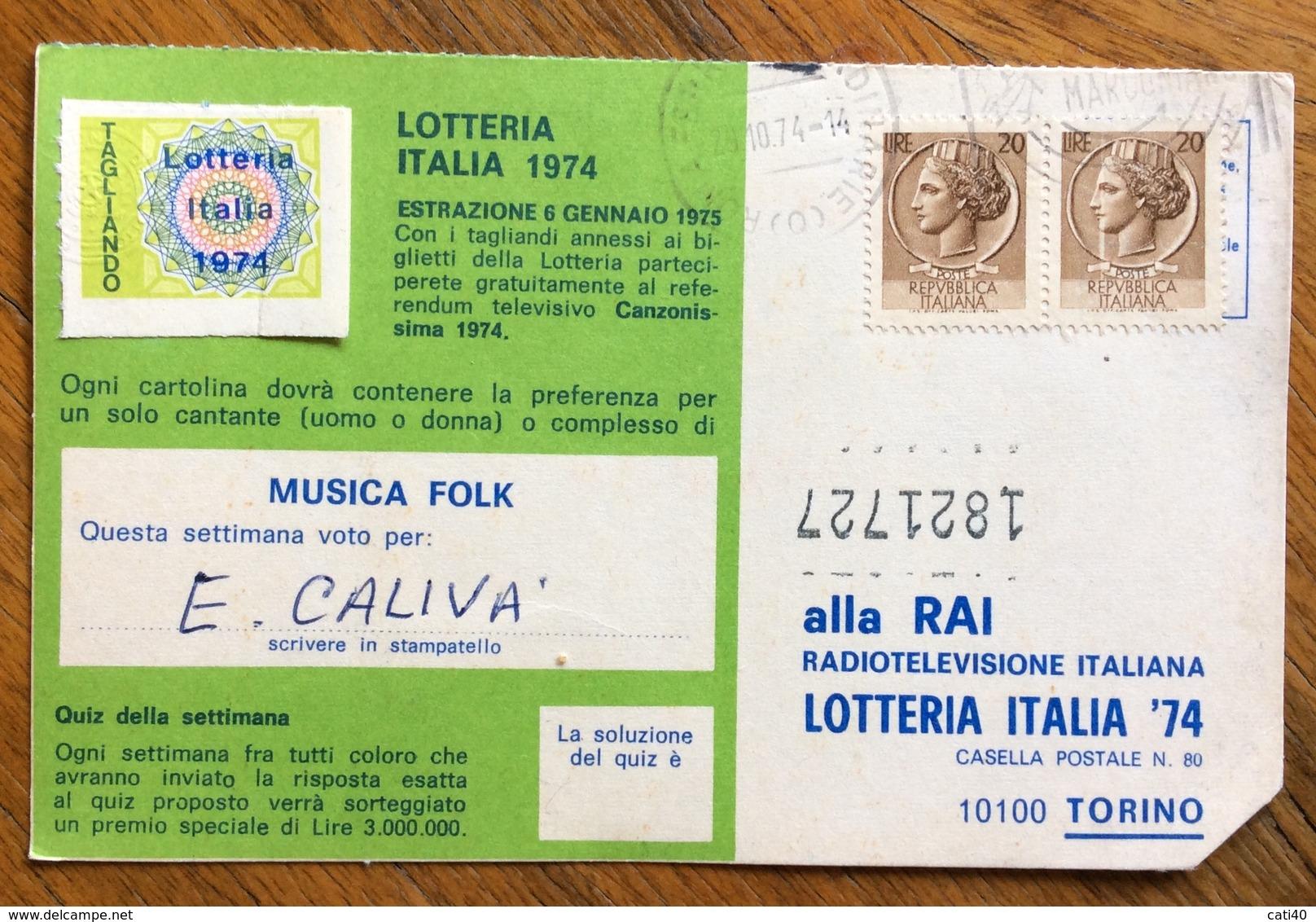LOTTERIA ITALIA  CARTOLINA PUBBLICITARIA SORRISI E CANZONI  CANZONISSIMA - Pubblicitari
