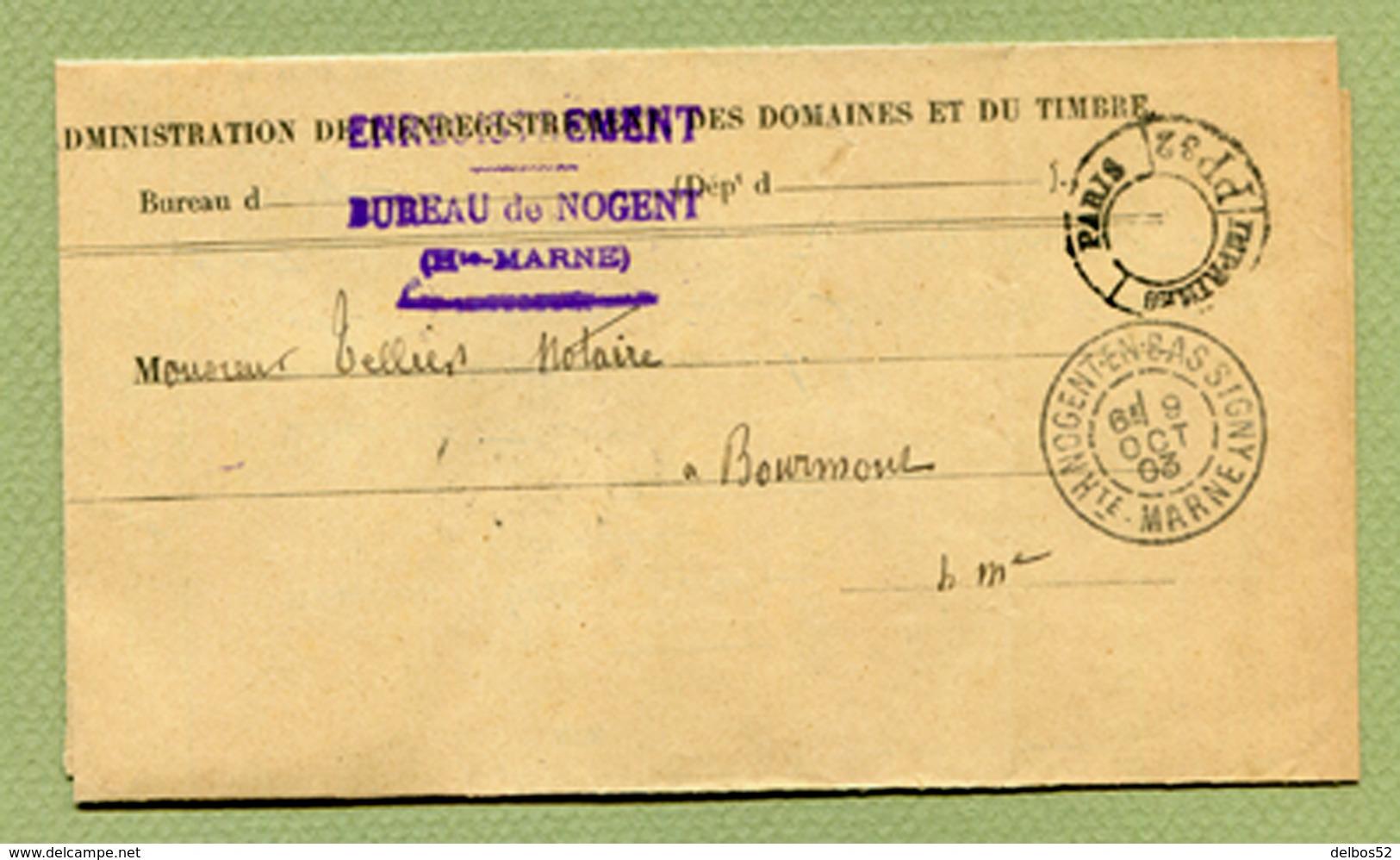 """NOGENT-EN-BASSIGNY  (52) : LETTRE ADMINISTRATIVE De 1903 + Cachet """" PARIS IMPRIMES PP 32 """" - Marcophilie (Lettres)"""
