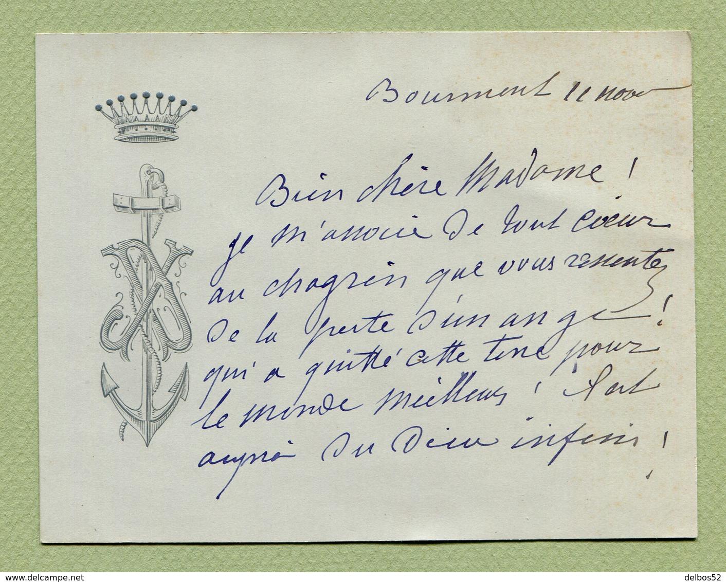 """BOURMONT  (52) : """" CONTESSE DUCOS """"  CDV Aux Armes De La Famille - Cartes De Visite"""