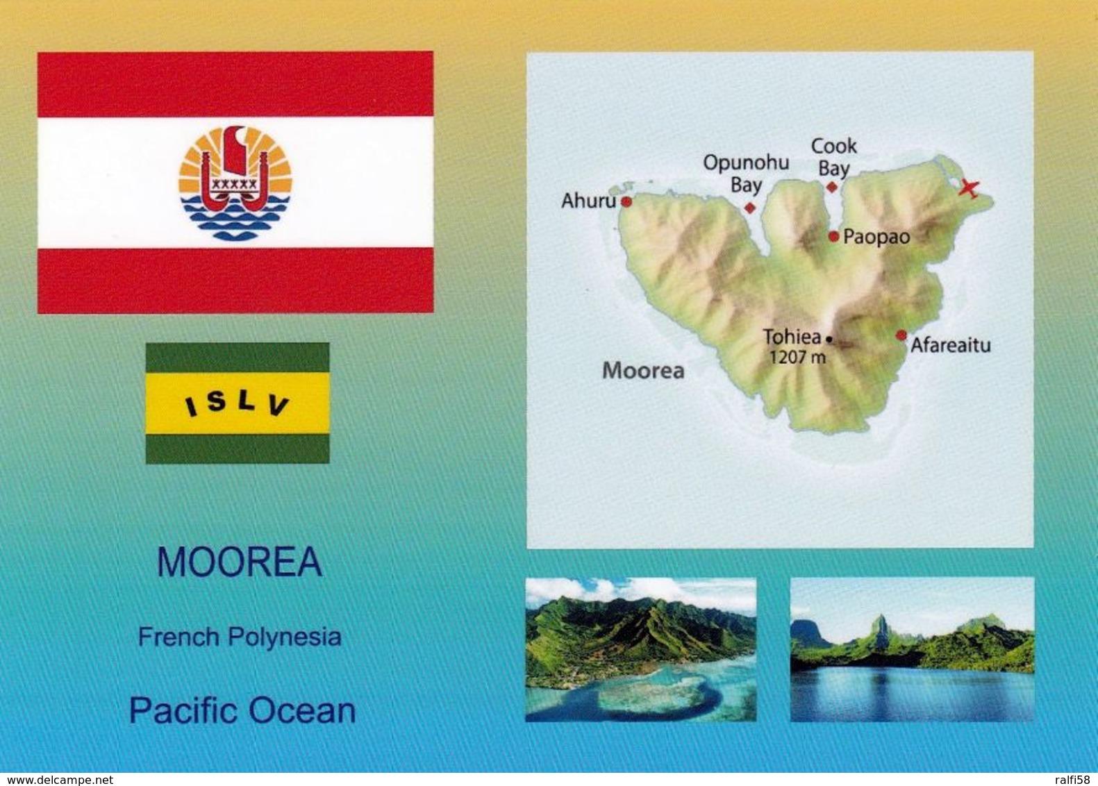 1 AK Französisch-Polynesien Moorea Island * Flagge, Landkarte, Wappen Und Zwei Ansichten Von Moorea * - Französisch-Polynesien