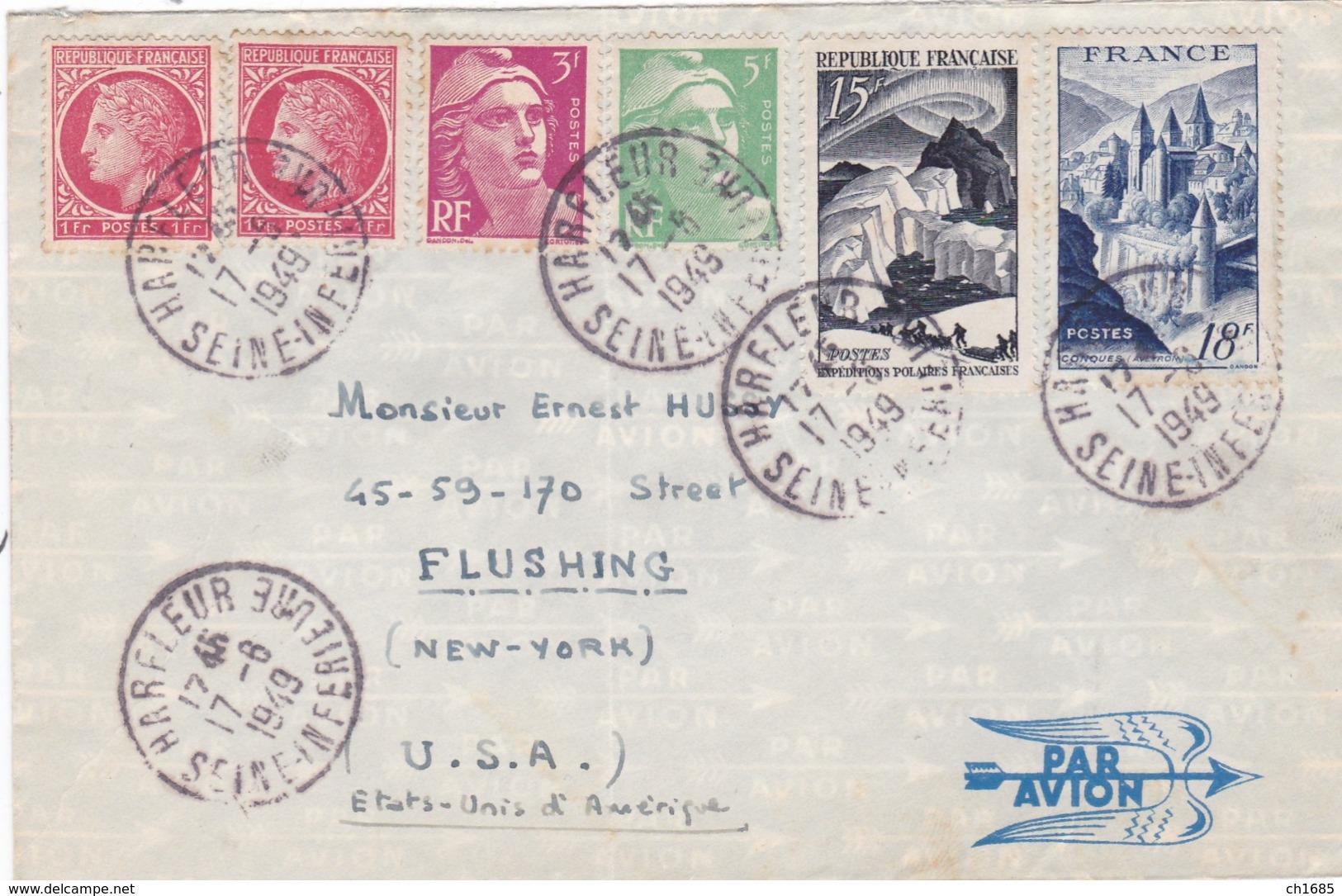 Divers Sur Lettre Par Avion Pour Les USA De 1949 - Postmark Collection (Covers)