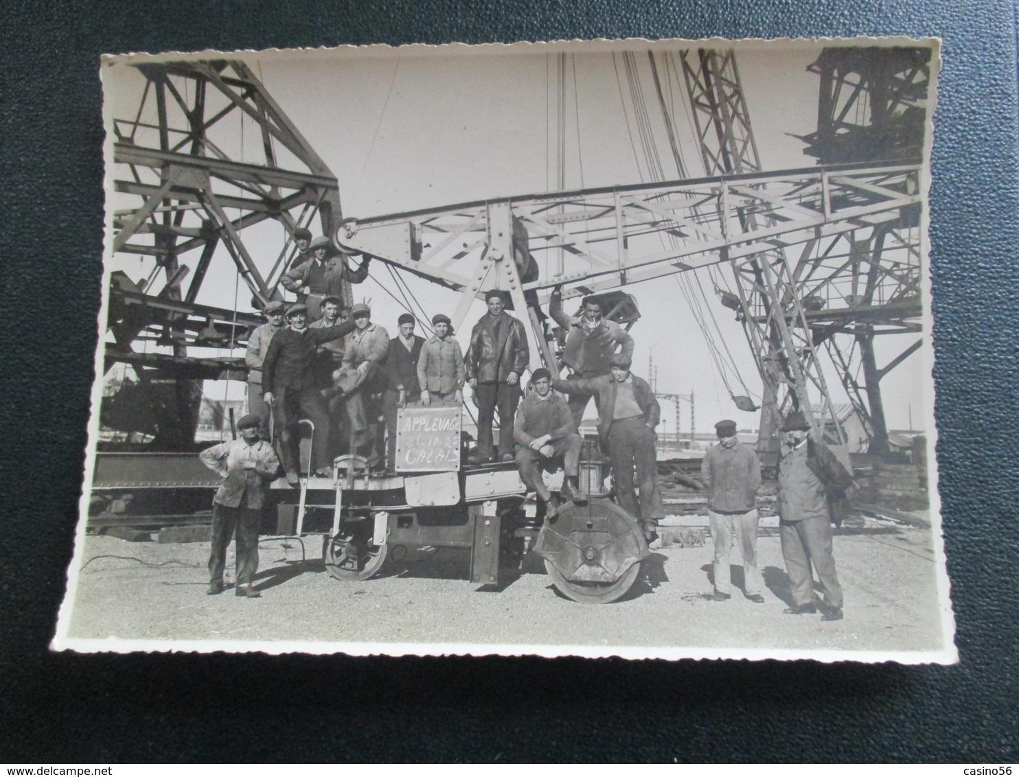 PHOTO ANCIENNE CALAIS PORT DOCKER CONSTRUCTION TRANSATLANTIQUE 12 X 17 CM - Photographs
