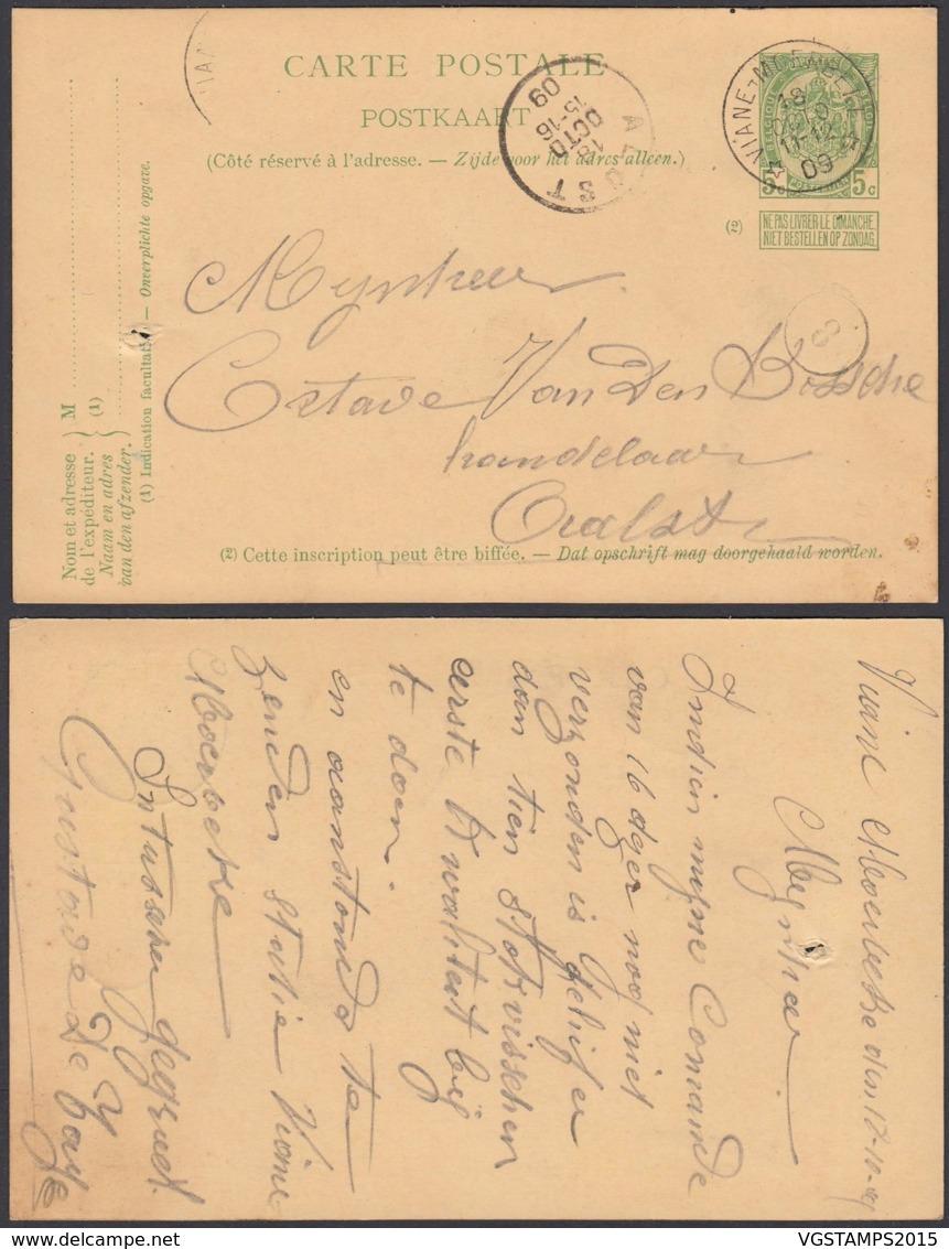 """BELGIQUE EP 5c VERT  OBL RELAIS """"VIANE-MOERBEKE"""" 18/10/1909 (DD) DC-2376 - Stamped Stationery"""