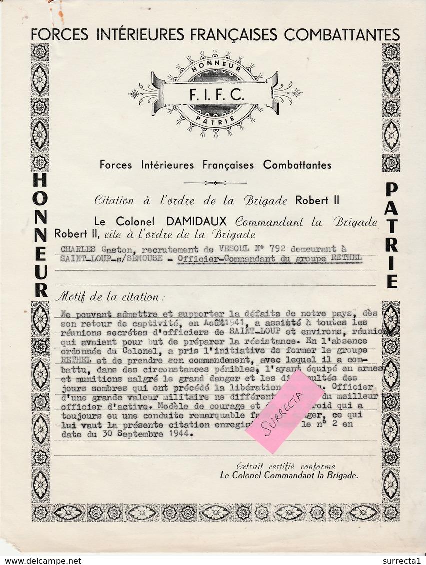 1944 / FIFC Forces Intérieures Françaises / ( Non FFI ) Citation Honneur Patrie / Charles Gaston Groupe Rethel - 1939-45