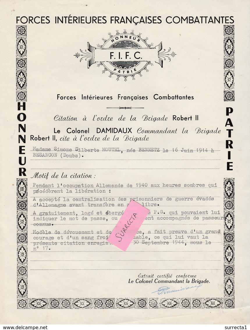 1944 / FIFC Forces Intérieures Françaises / ( Non FFI ) Citation Honneur Patrie / Moutel Simone - 1939-45