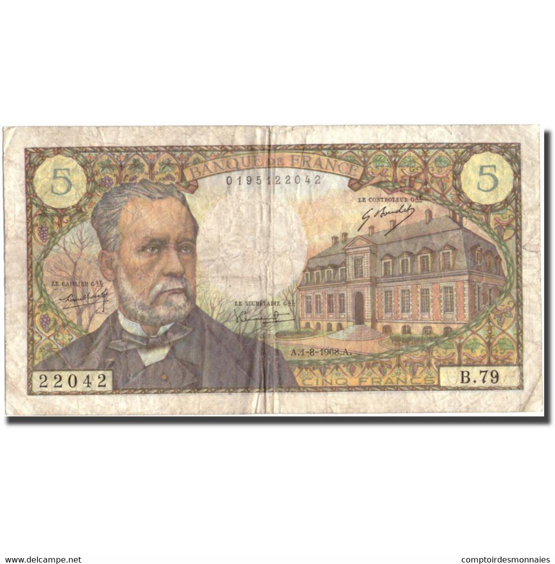 France, 5 Francs, 5 F 1966-1970 ''Pasteur'', 1968, 1968-08-01, TB, Fayette:61.8 - 1962-1997 ''Francs''