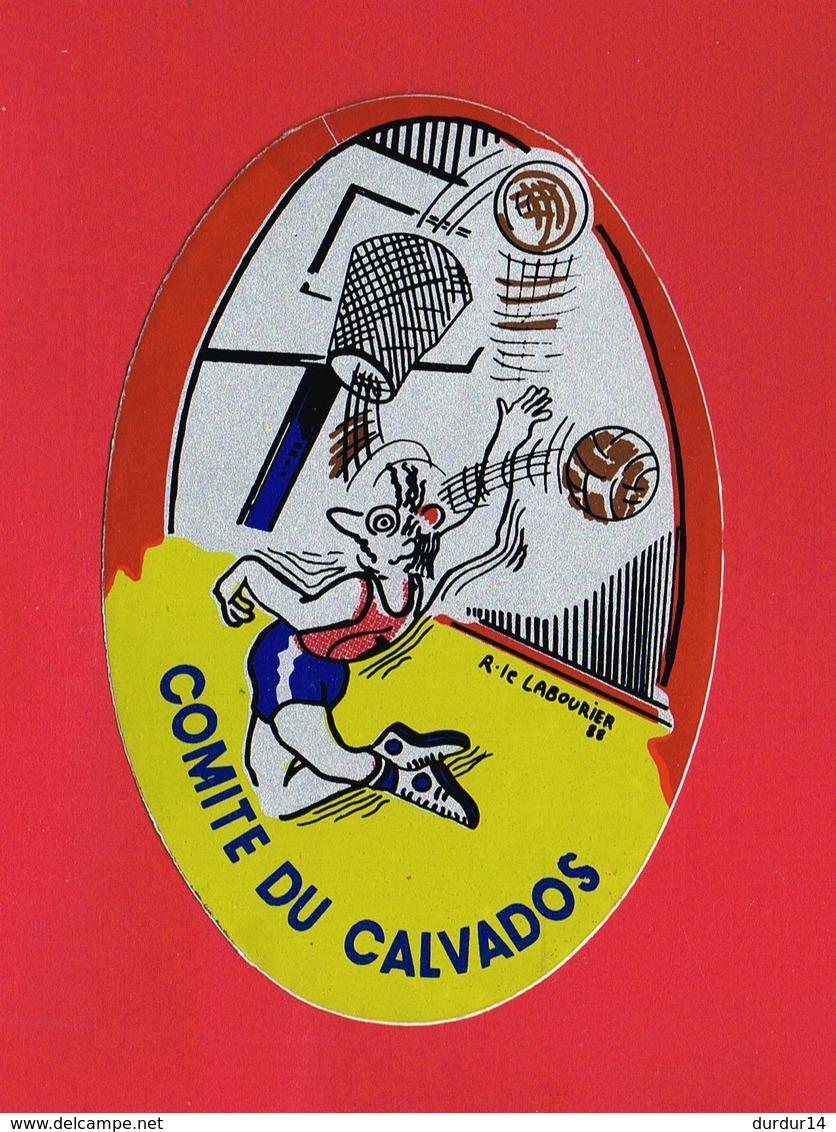 1 Autocollant SPORT COMITE DU CALVADOS  BASKET BALL Signé R. Le LABOURIER 1988 - Autocollants