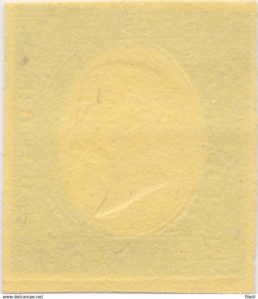 SI53D Italia Sardegna 1854 Eff. Di Vittorio E.II Nuovo Sg. Prova Verde Pisello Su Carta Colorata Val. Catalogo € 1200 - Sardaigne