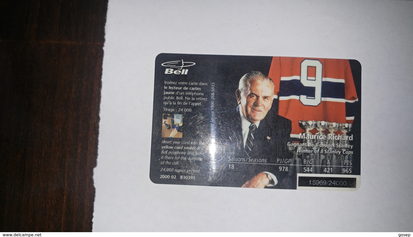 Canada-(b30395)-jean Beliveau-(30)-(20$)-tirage-24.000-used Card+1card Prepiad Free - Canada