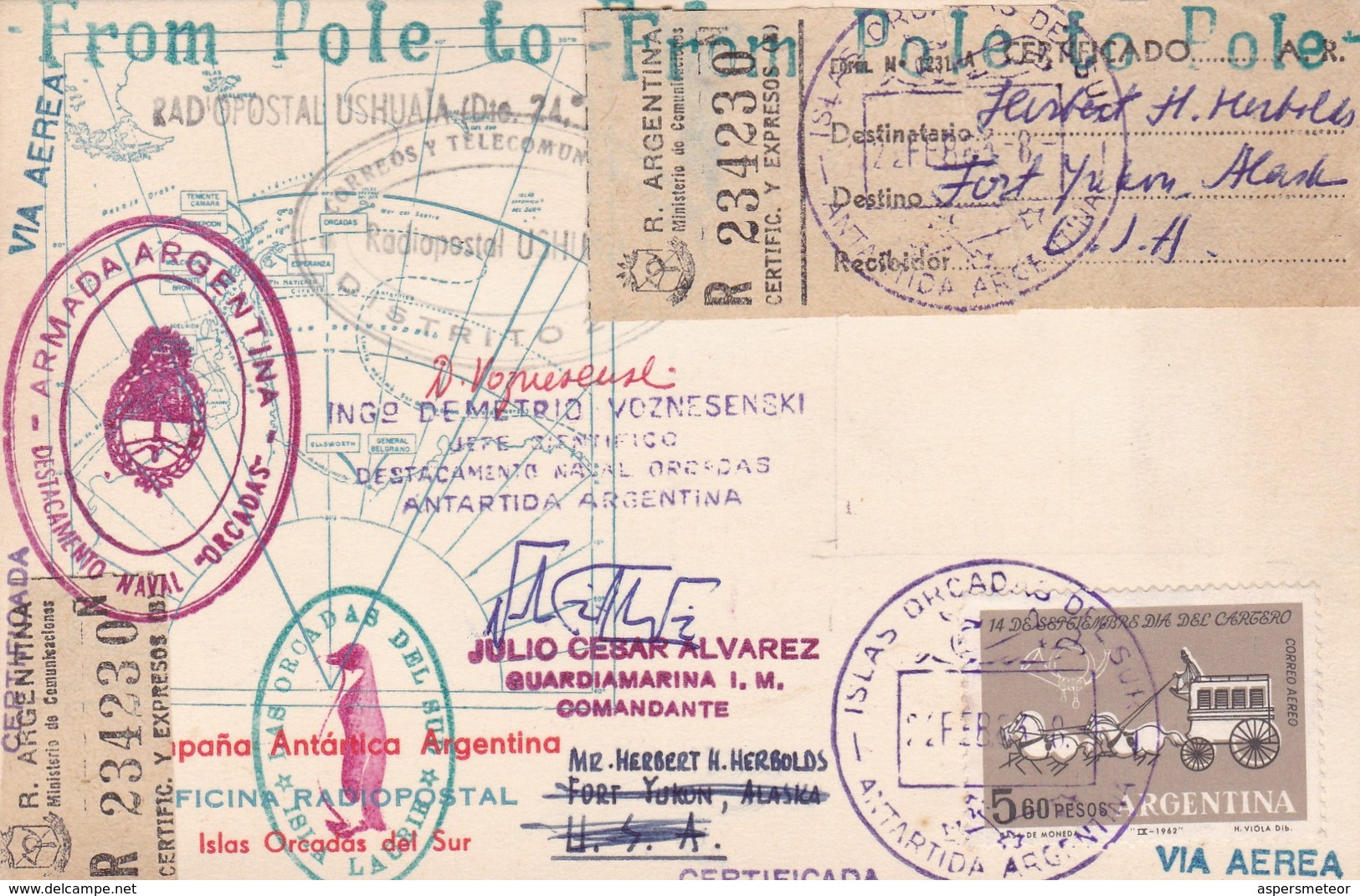 FROM POLE TO POLE RARE RACOMMANDEE SIGNEE YEAR 1963 CIRCULEE SOUTH ORKNEY ISLAND TO ALASKA - BLEUP - Bases Antarctiques