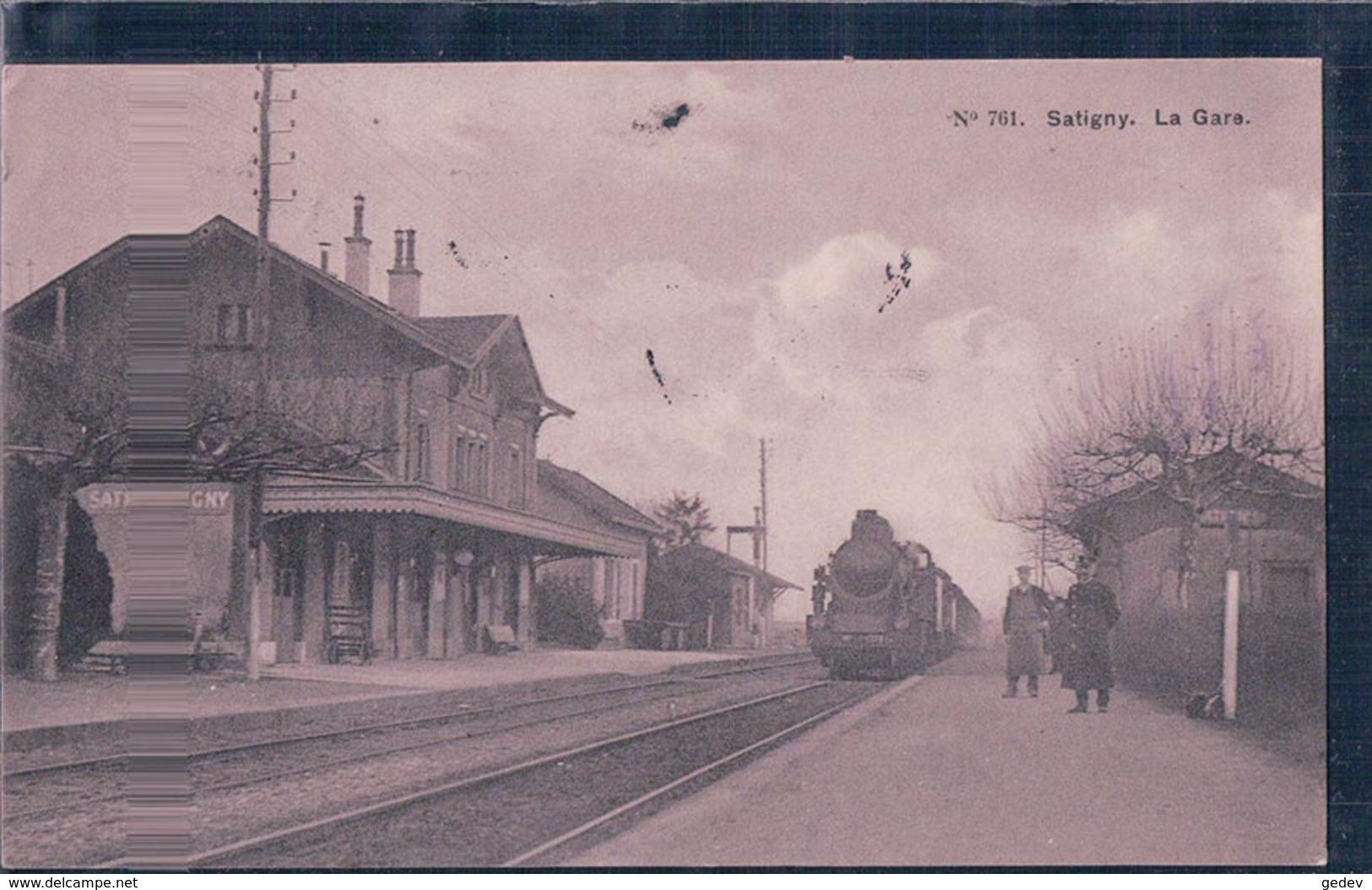 Genève Satigny, Chemin De Fer, La Gare Et Train à Vapeur (15.7.1913) - GE Genève