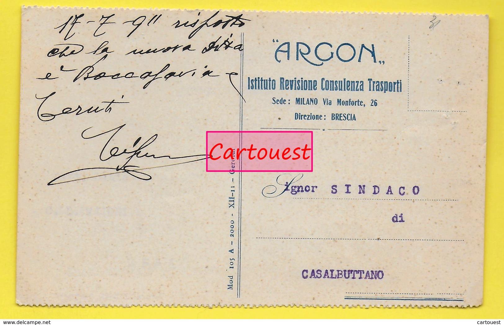 ֎ ARCON ֎ Istituto Revisione Consulenza Trasporti ֎ Brescia ֎ 1911  ֎ - Italie