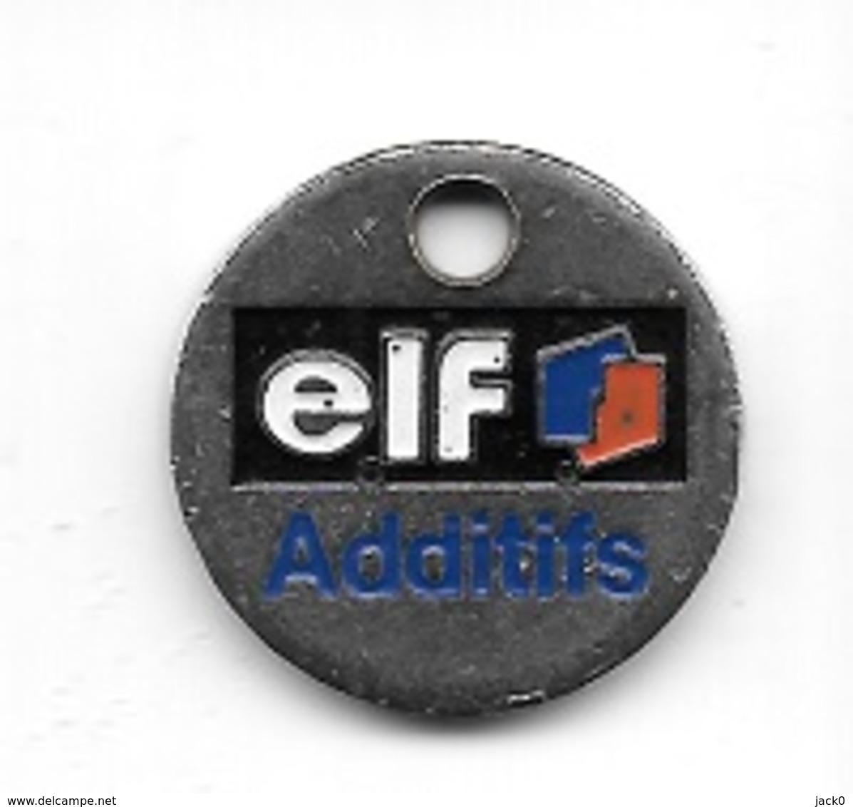 Jeton De Caddie Argenté  Marque  Carburant  ELF  Additifs  Verso  ADDITIFS, DEGRAISSANTS, BIOCIDES - Jetons De Caddies