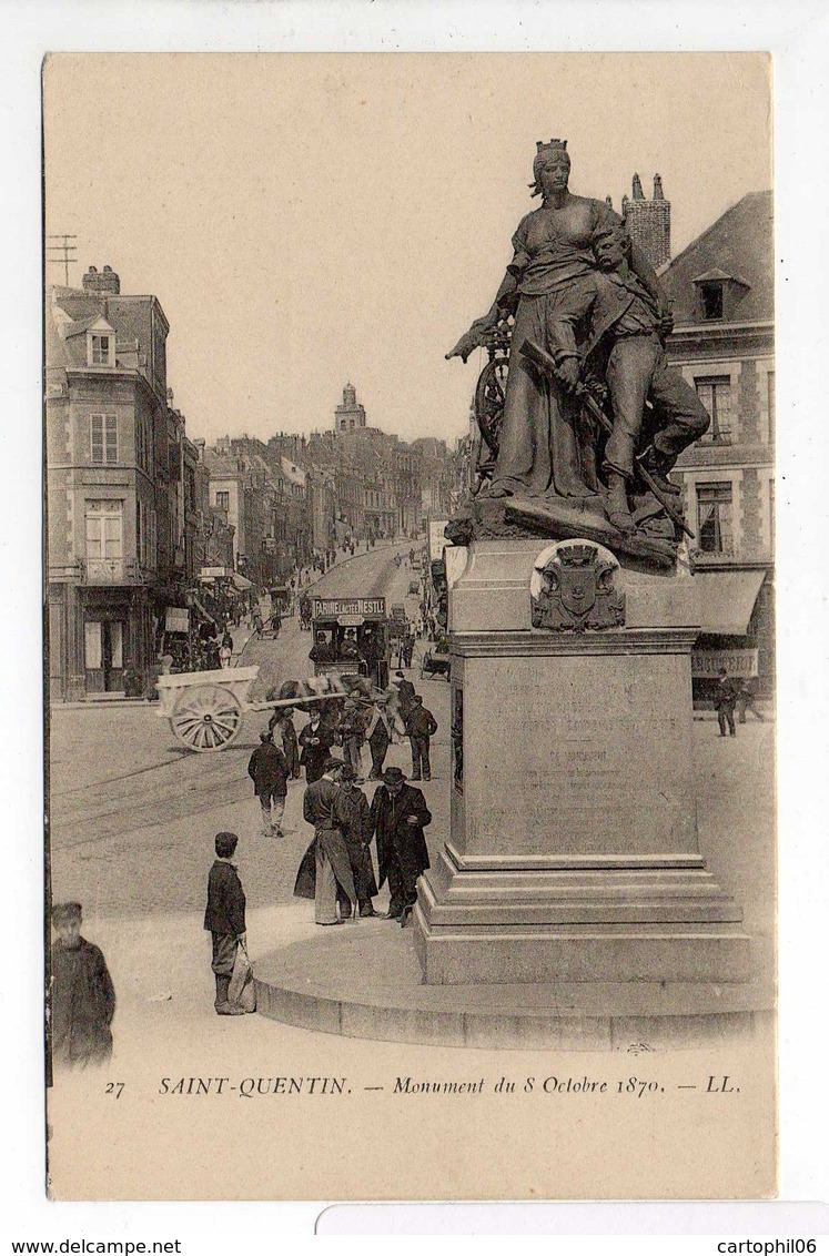 - CPA SAINT-QUENTIN (02) - Monument Du 8 Octobre 1870 (belle Animation) - Editions Lévy N° 27 - - Saint Quentin